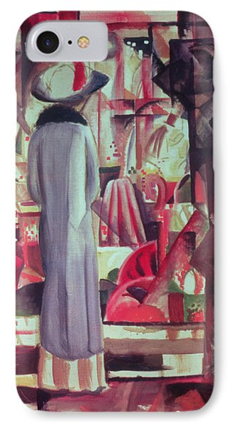 Woman In Front Of A Large Illuminated Window IPhone 7 Case by August Macke