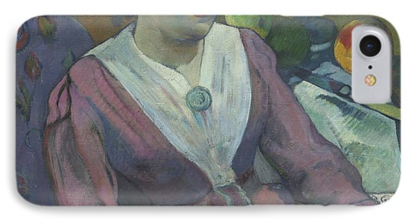 Woman In Front Of A Still Life By Cezanne IPhone Case by Paul Gauguin