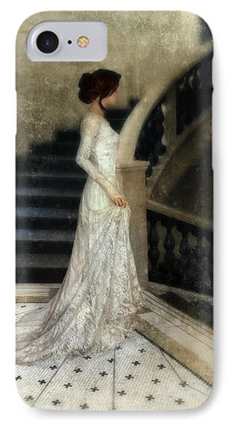 Woman In Lace Gown On Staircase IPhone Case by Jill Battaglia