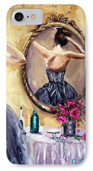 IPhone Case featuring the painting Woman In Mirror by Jennifer Beaudet