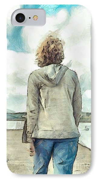 Woman In Rustico Harbor Prince Edward Island IPhone Case by Edward Fielding