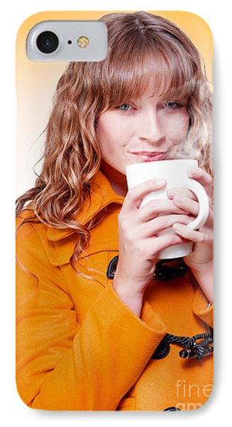 Woman In Warm Winter Coat Sipping Hot Coffee IPhone Case by Jorgo Photography - Wall Art Gallery