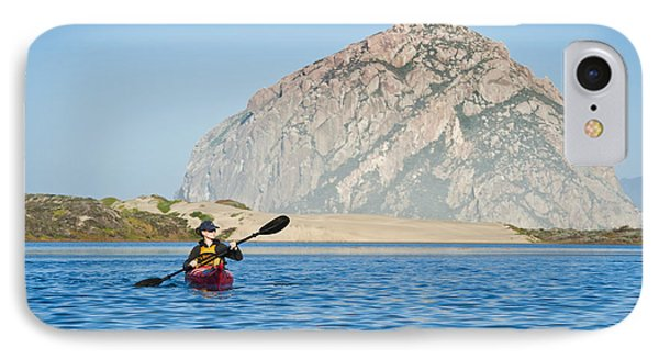 Woman Kayaking In Morro Bay IPhone Case by Bill Brennan - Printscapes