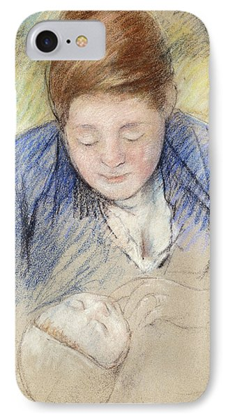 Woman Leaning Over Baby IPhone Case by Mary Stevenson Cassatt