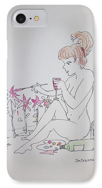 Woman Nakedly Painting Flowers Drinking Wine IPhone Case by James Christiansen