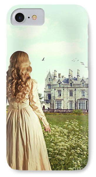Woman Overlooking Mansion IPhone Case by Amanda Elwell