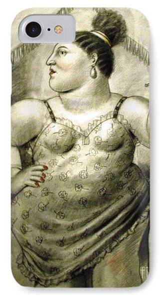 woman performer Botero IPhone Case by Ted Pollard