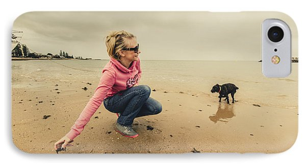 Woman Playing With Dog IPhone Case by Jorgo Photography - Wall Art Gallery