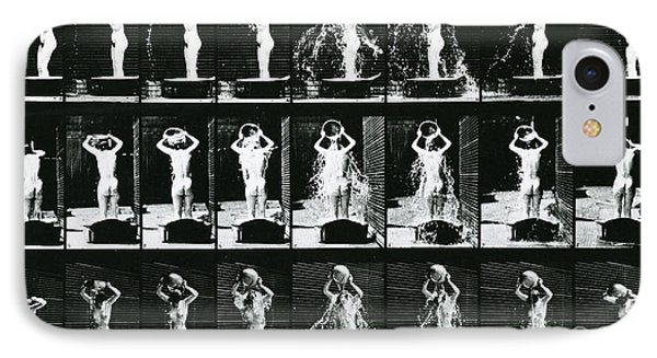 Woman Pouring A Basin Of Water Over Her Head IPhone Case by Eadweard Muybridge