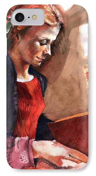 Woman Reading Phone Case by Ellen Dreibelbis