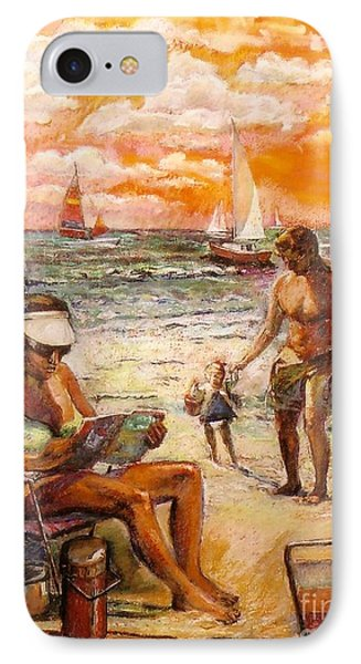 Woman Reading On The Beach IPhone Case by Stan Esson