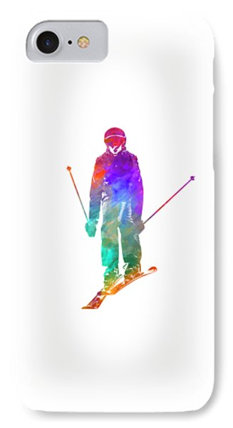 Woman Skier Skiing Jumping 01 In Watercolor IPhone Case by Pablo Romero