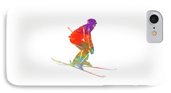 Woman Skier Skiing Jumping 02 In Watercolor IPhone Case by Pablo Romero