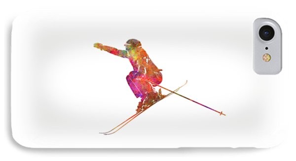 Woman Skier Skiing Jumping 03 In Watercolor IPhone Case by Pablo Romero