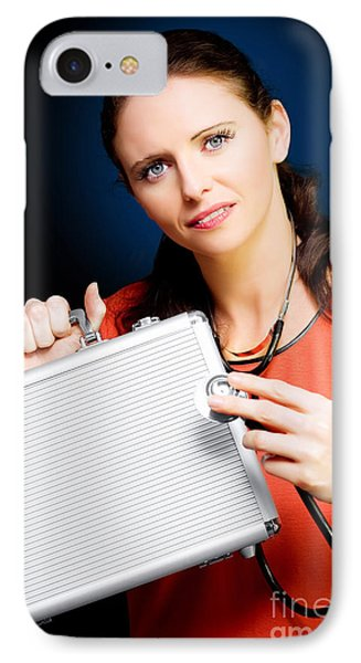 Woman Smiling While Conducting Business Review IPhone Case by Jorgo Photography - Wall Art Gallery
