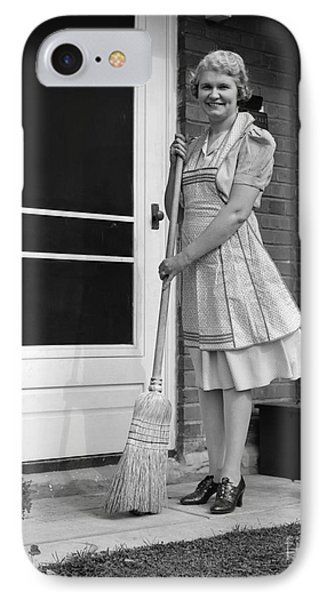 Woman Smiling With Broom, C.1940s IPhone Case