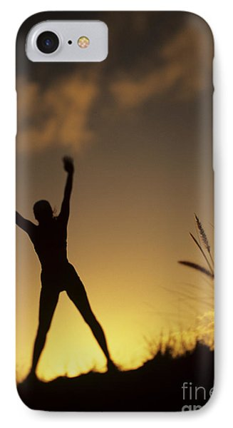 Woman Stretching On A Mountain Phone Case by Dana Edmunds - Printscapes