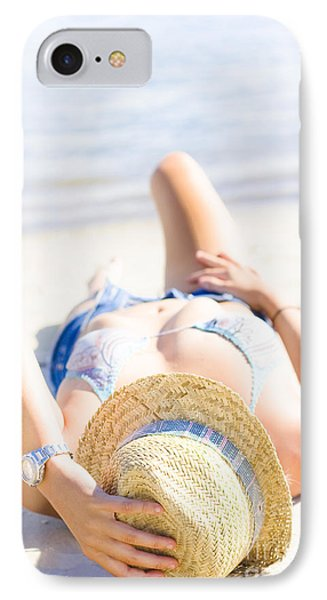Woman Sunbathing IPhone Case by Jorgo Photography - Wall Art Gallery