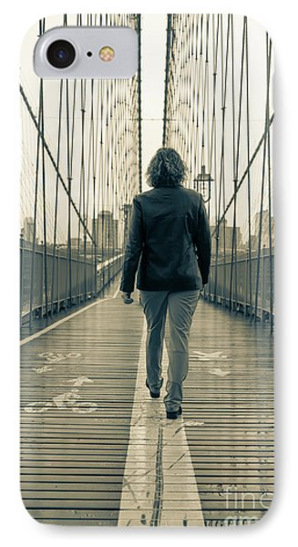 Woman Walking On The Brooklyn Bridge IPhone Case by Edward Fielding