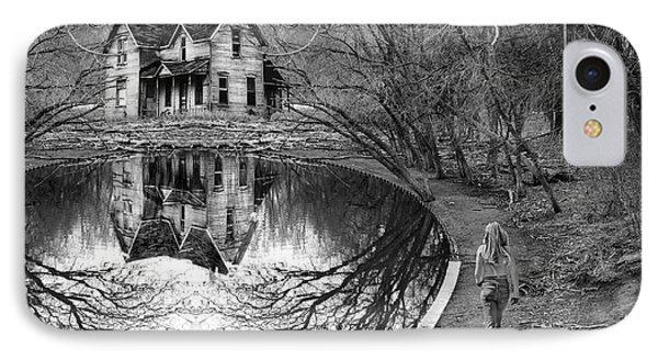 Woman Walking To Old House Phone Case by Jill Battaglia
