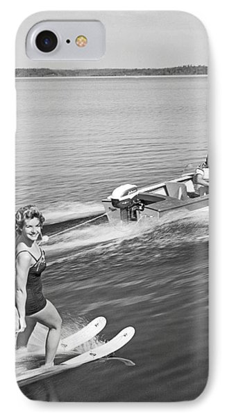 Woman Water Skiing IPhone Case by Underwood Archives