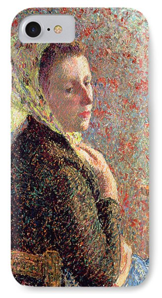 Woman Wearing A Green Headscarf Phone Case by Camille Pissarro