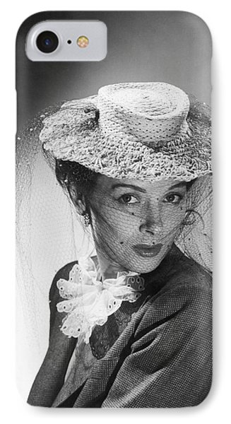 Woman Wearing A Hat & Veil IPhone Case