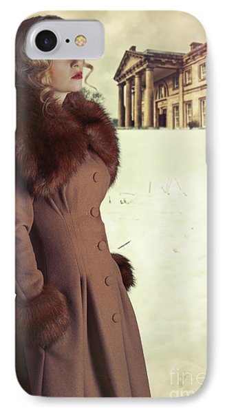 Woman Wearing Fur Trimmed Coat IPhone Case by Amanda Elwell