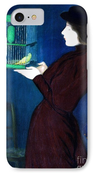 Parakeet iPhone 7 Case - Woman With A Bird Cage  Detail by Jozsef Rippl-Ronai