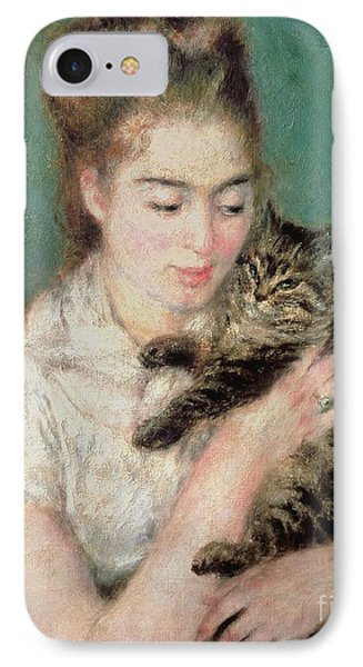 Woman With A Cat Phone Case by Pierre Auguste Renoir