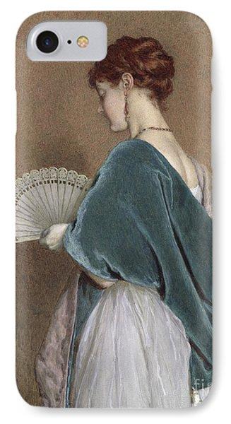 Woman With A Fan Phone Case by John Dawson Watson