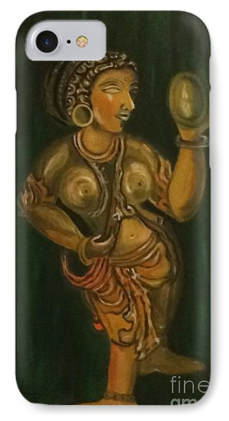 IPhone Case featuring the painting Woman With A Mirror Sculpture by Brindha Naveen