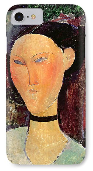 Woman With A Velvet Neckband IPhone Case by Amedeo Modigliani