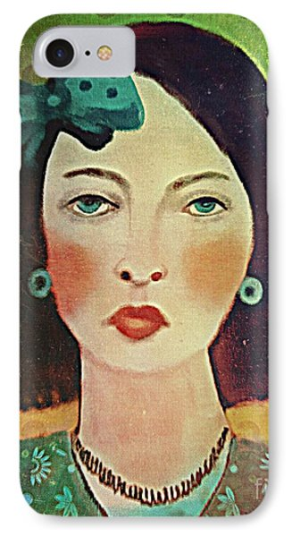 IPhone Case featuring the digital art Woman With Blue Hair Bow by Alexis Rotella