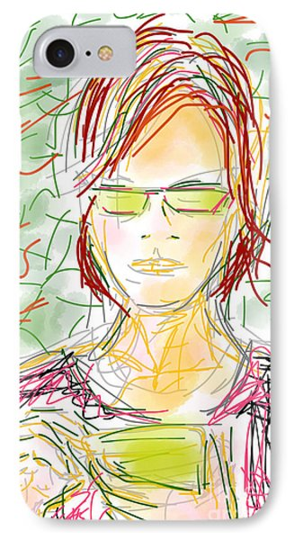 Woman With Cell Phone II IPhone Case
