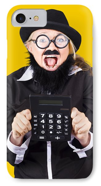 Woman With Electronic Calculator IPhone Case by Jorgo Photography - Wall Art Gallery