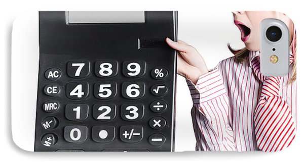 Woman With Large Calculator IPhone Case by Jorgo Photography - Wall Art Gallery