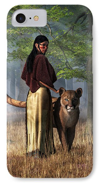 Woman With Mountain Lion IPhone Case by Daniel Eskridge