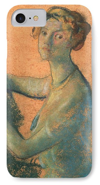 Woman With Orange Background IPhone Case