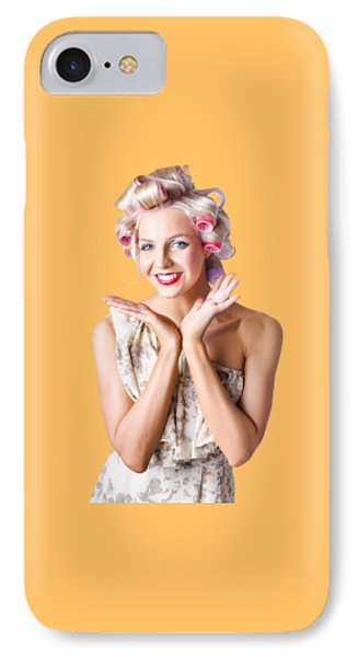 Woman With Rollers In Hair IPhone Case by Jorgo Photography - Wall Art Gallery
