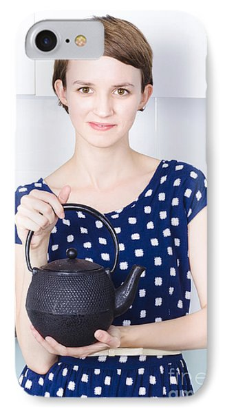 Woman With Tea Kettle IPhone Case by Jorgo Photography - Wall Art Gallery