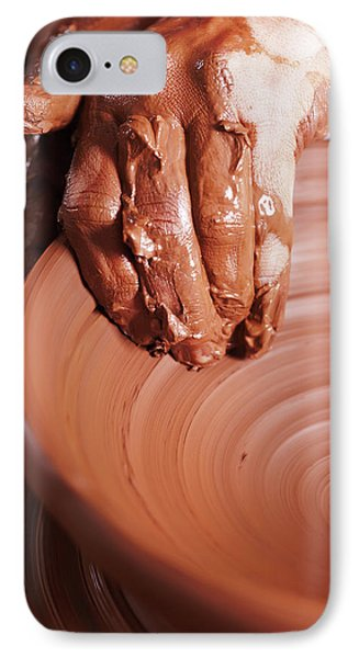 Women Hands. Potter At Work. Creating Dishes. Potter's Wheel. Dirty Hands In The Clay And The Potter IPhone Case