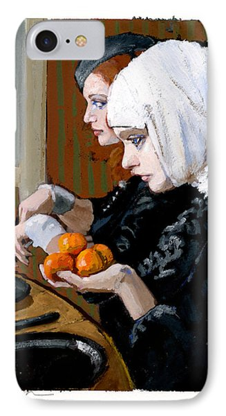 Women With Tangerines IPhone Case by H James Hoff
