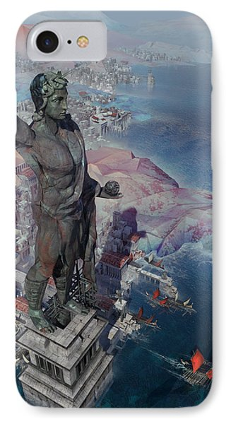 wonders the Colossus of Rhodes IPhone Case by Te Hu