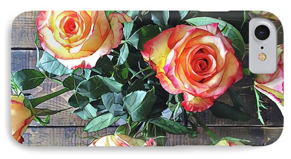 Wood And Roses IPhone Case by Shadia Derbyshire