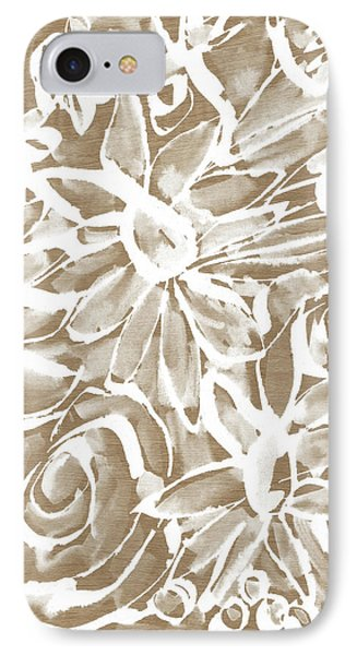 Wood And White Floral- Art By Linda Woods IPhone Case by Linda Woods