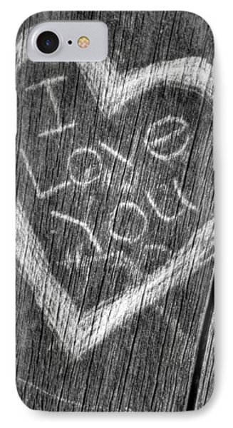 Wood Carving I Love You Phone Case by Connie Cooper-Edwards