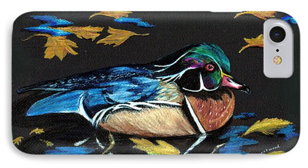 Wood Duck And Fall Leaves IPhone Case by Carol Sweetwood