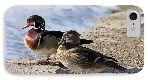 Wood Duck Pair By The Lake Phone Case by David Gn