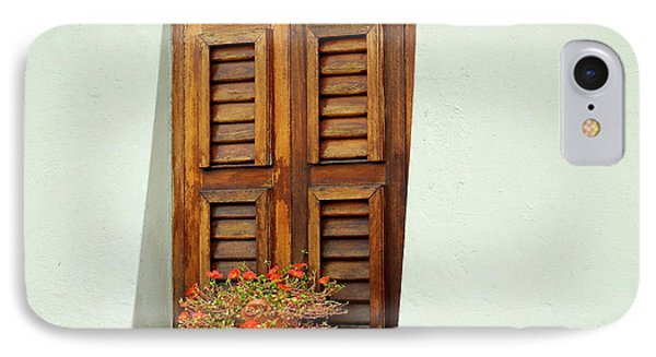 IPhone Case featuring the photograph Wood Shuttered Window, Island Of Curacao by Kurt Van Wagner